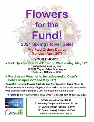 "2021 SCCCF ""Flowers for the Fund"" Spring Flower Sale!"